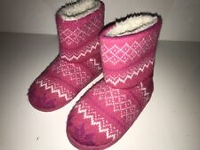 Stride Rite Girl's Pink Knit Fabric Faux Fur Sweater Boots Slippers Sz 11/12