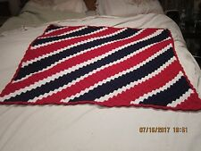 PROJECT LINUS  HANDMADE RED/WHITE/BLUE 38 x 38 In Crochet AFGHAN FREE SHIP NEW!!