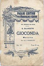 GIOCONDA  G. Silvestri # SPARTITO - Mandolino - Pagani Edition  New York