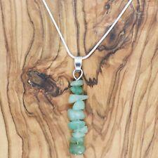 "Green Aventurine Gem Chip Pendant with 20"" Silver Necklace Love Healing Reiki"