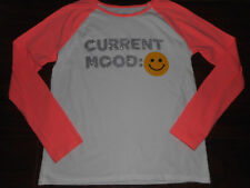 Children's Place Girls Size XL (14) Long Sleeve Peach & White Top Smiley Face