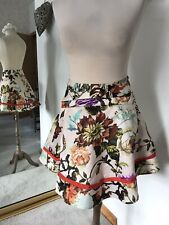 Brand New Ted Baker Satin Floral Mini Skirt With Fromt Pockets