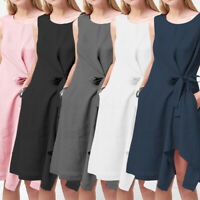 Womens Sleeveless Cotton Linen Evening Party Beach Asymmetric A Line Shirt Dress
