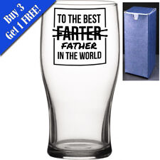 Novelty Pint Beer Cider Glass - To The Best FARTER Father In The World -Dad Gift