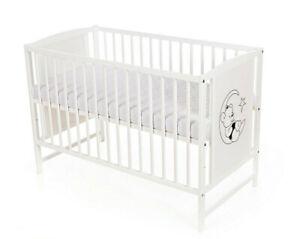 Babybett Kinderbett Teddymond 120x60 Matratze Holz Weiß Neu