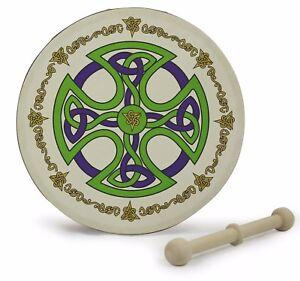 "Irish 8"" Bodhran Celtic Designs With Beater 12 Designs Souvenir Gift Drum Kids"