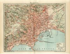 1902 ITALY NAPLES NAPOLI CITY PLAN Antique Map dated
