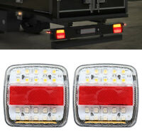 2x Red/Amber LED Truck Trailer Tail Lights Rear Stop Brake Turn Signal Lamp 12V