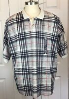 Mens Sz 2XL Basic Equipment plaid short sleeve polo NWT Gray Black Red Shirt