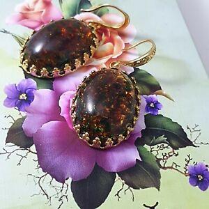 Handmade Japan large moss Topaz opal glass cabochon Earrings