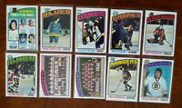 1976-77 TOPPS HOCKEY 10 CARD LOT TONY ESPOSITO PHIL ESPOSITO GILLIES VACHON ++