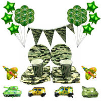 Disposable Tableware Plate Banners Camouflage Theme Birthday Party Decorations