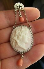 Antique Angel Skin Coral Lavaliere Cameo white metal Pendant