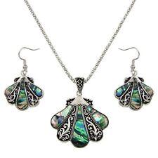 """Seashell Fashionable Necklace & Earrings Set - Abalone Paua Shell - 17"""" Chain"""