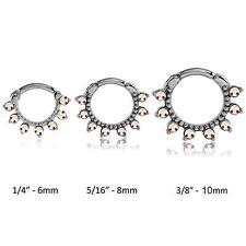 316L Surgical Steel Septum Clicker Cartilage Helix Nose Ring Hoop Aurora CZ 14G