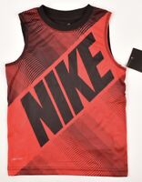 NIKE Boys' Kids' DRI-FIT T-shirt Activewear Tank Top, Red/Black, sizes 1-7 Years
