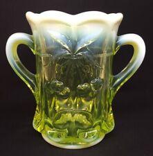 Mosser Art Glass Vaseline Opalescent #141 Cherry Thumb Two Handle Spooner