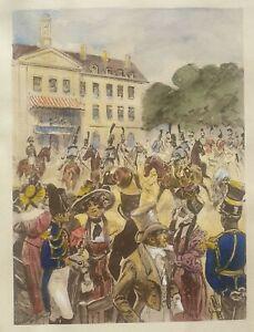 Maurice Toussaint 1882-1974 original signed water colour acquaint etching