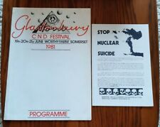 More details for rare glastonbury festival 1981 cnd festival programme plus cnd membership form