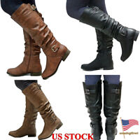 Womens PU Leather Mid-Calf Boots Zip Up Low Heels Ladies Flats Shoes Size 5-8.5