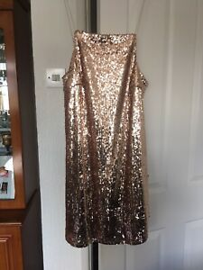 Ladies Size 12 Gold/Pink Sequined Dress By Lipsy (London) Brand New