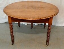 TIGER  MAPLE  ROUND  TABLE  WITH  TURNED  LEGS