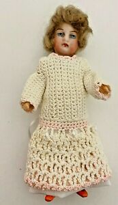 """Antique Bisque Head/Compo Body Doll 5"""" Jointed Doll House Doll Unmarked"""