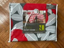 notNeutral - Twin Duvet Cover Set - Red Poppy with Standard Pillow Sham