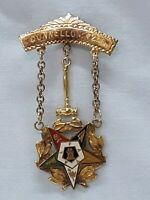 Masons Gold Filled Order Of Eastern Star Masonic Pin With Gavel And Chain