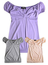 Ladies Gypsy Top New Womens Stretch Short Sleeved Summer T Shirt Tee UK 8-14 S/M