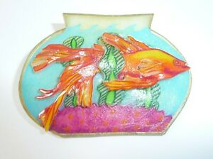 VINTAGE ESTATE FISH BOWL 3D  IN MULTI TONE BROOCH HANDCRAFTED
