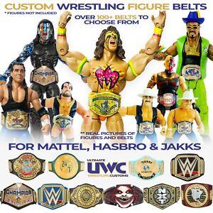 Custom Wrestling Belts WWE AEW WWF NJPW ROH Mattel/Jakks/Hasbro Figures