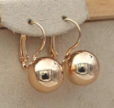 18K Gold Filled Earrings Elegant Solid Sphere Dangle Fashion Women Ear Stud SW