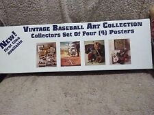 VINTAGE BASEBALL ART COLLECTION 4 POSTERS