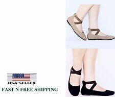 Women's Black & TAUPE Mary Jane Ankle Strap With zipper Ballet Flats sz 5 to 10