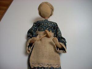 Handmade hand crafted folk art doll bendable 1980s real hair