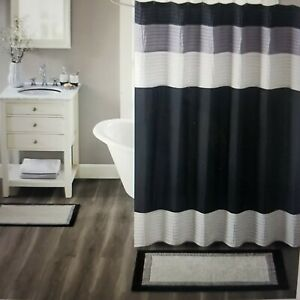 Madison Park 20x30 Salem Border Bath Rug Black/Grey