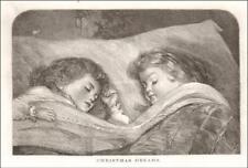 CHRISTMAS DREAMS, WAIT FOR SANTA, antique engraving original 1877
