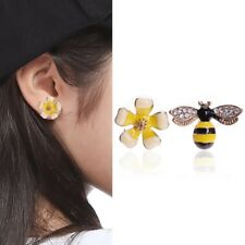 Lovely Rhinestone Yellow Flower Bees Insects Ear Studs Asymmetric Alloy Earrings