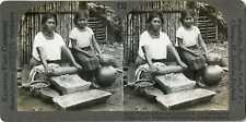 El Salvador Indian Hand Grinding Corn For Tortillas Stereoview 20503 T33 19361b