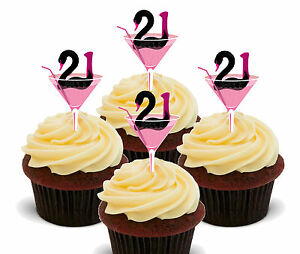 21st Birthday Girl Edible Cupcake Toppers, Standup Fairy Cake Decorations Female