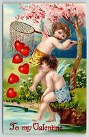 Valentine~Gossamer Cupids on Riverbank~Hearts Break Net~Pink Flower Tree~Emboss