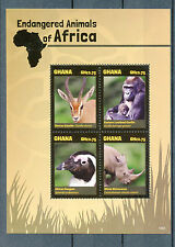 Ghana 2014 MNH Endangered Animals of Africa 4v M/S II Gorilla Rhino Penguin