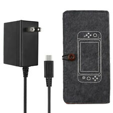 Power Supply Adapter Wall Charger Type-C w/ Felt Pouch Case For Nintendo Switch
