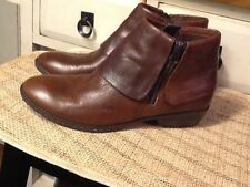 BOC Born Brown Leather Ankle Boots Booties Fold Over Zipper Women's 40/ US 8.5