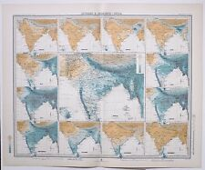 1899 LARGE WEATHER METEOROLOGY MAP ISOBARS & ISOHYETS INDIA ANNUAL RAINFALL