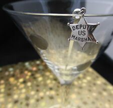 SILVER STAR .925 sheriff us marshall deputy ~ cocktail OLIVE PICK Stainless pick