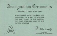 President Franklin D. Roosevelt Inauguration Ceremonies Platform VIP Ticket 1941