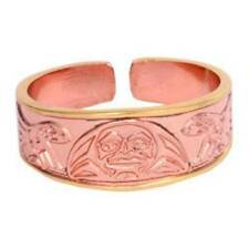Solid Copper Ring Moon Northwest Native Gold Jewelry Adjustable Etched Design