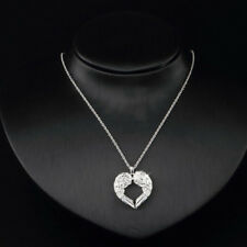 Jewelry Valentine Gift Angel Wings Necklace Women Heart Pendant Silver Plated
